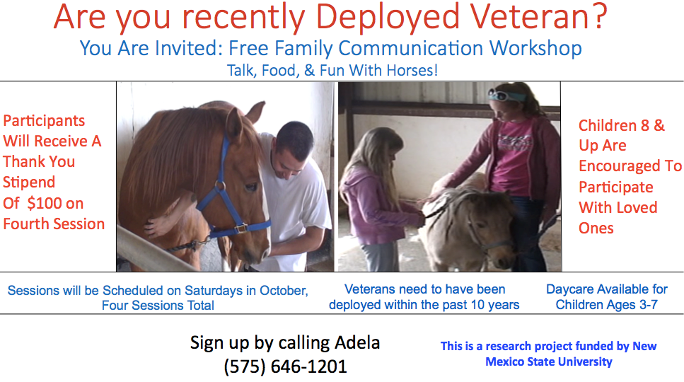 Flyer for Student Veterans and Family Member project